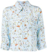 Marni - printed cropped sleeve shirt - women - Silk - 38, 40, 42 - BLUE