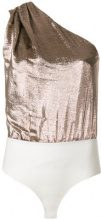 Dsquared2 - one-shoulder bodysuit - women - Silk/Polyester/Viscose/Spandex/Elastane - 38, 40, 42 - METALLIC