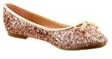 Sopily - Scarpe da Moda ballerina alla caviglia donna papillon paillette Tacco a blocco tacco alto 1 CM - Champagne