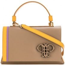 Emilio Pucci - embossed logo shoulder bag - women - Calf Leather - OS - NUDE & NEUTRALS