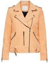 SELECTED Suede - Leather Jacket Women Orange