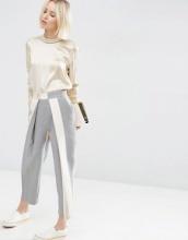 ASOS White - Pantaloni a righe con pieghe