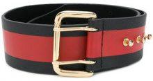- B - Low The Belt - striped buckle fastened belt - women - Leather - L - Nero