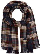 Tom Tailor Trendy Check Scarf, Sciarpa Donna, Blu (Real Navy Blue 6593), Taglia unica