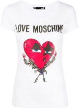 Love Moschino - rockstar heart T-shirt - women - Cotone/Spandex/Elastane - 42, 44, 38, 40 - WHITE