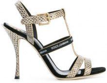 Dolce & Gabbana - logo strap sandals - women - Ayers Snakeskin/Polyester/Leather - 35.5, 37.5, 38.5, 39, 40 - NUDE & NEUTRALS