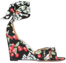 "Aquazzura - ""All Tied Up"" wedge sandal - women - Leather - 7, 7.5, 8, 8.5, 9, 9.5 - Nero"
