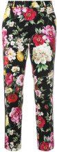 Dolce & Gabbana - Pantaloni crop a fiori - women - Cotone/Spandex/Elastane - 40 - Multicolore