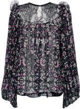 Reinaldo Lourenço - lace insert blouse - women - Silk - 42 - Nero