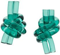 JW Anderson - perspex knot earrings - women - Plastic - OS - GREEN