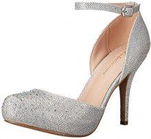 PleaserCovet 03 - Scarpe con Cinturino alla Caviglia Donna, Argento (Silver (Slv Glitter Mesh Fabric)), 40 EU (7 UK)
