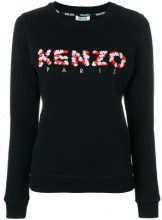 - Kenzo - Felpa con logo ricamato - women - cotone/fibra sintetica - XS - di colore nero