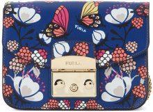 Borsa a tracolla Furla Metropolis Mini in pelle blu pavone con farfalle