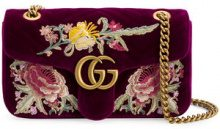 Gucci - GG Marmont embroidered shoulder bag - women - Velvet/Leather - One Size - Rosa & viola