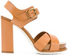 Tod's - crossover sandals - women - Calf Leather/Leather/Wood/rubber - 36, 38.5, 39 - BROWN