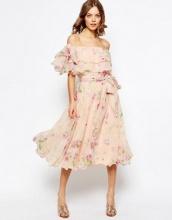 ASOS - Vestito midi da cerimonia stile Bardot a fiori con spalle scoperte e vari volant