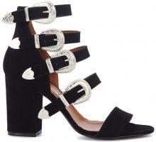 Sandalo con tacco Via Roma 15 in pelle nera con fibbie