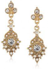 Downtown Abbey - Orecchini con cristallo a goccia e perle finte, tonalità oro, in confezione regalo