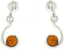 Nova Silver Donna 925 argento Rotonda arancione Ambra