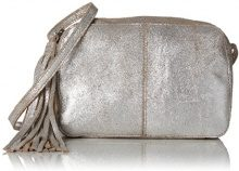PIECES Pcmylisia Leather Cross Over Bag - Borse a tracolla Donna, Silber (Silver Colour), 4x13x19 cm (B x H T)