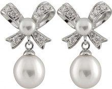 Bella Pearls Donna 925 argento Rotonda Bottone perla cinesa da coltivazione bianco Perla Zirconia cubica