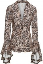 Blazer in fantasia leopardata con volant (Marrone) - BODYFLIRT boutique