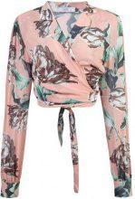 Patbo - Botanica print wrap tie crop top - women - Viscose - 36 - PINK & PURPLE
