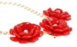 Da donna color oro placcato catena 3fiori rosa perline Dichiarazione Collana Girocollo