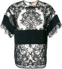 Nº21 - Blusa con pannello in pizzo - women - Polyester/Acetate/Silk - 44 - Nero