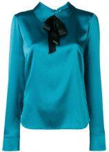 Styland - bow-detail satin blouse - women - Silk/Spandex/Elastane - S, M - Blu