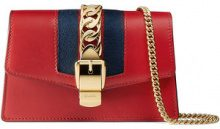 Gucci - Sylvie leather mini chain bag - women - Leather/Nylon/Microfibre - One Size - RED