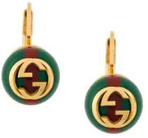 Gucci - Web Interlocking earrings - women - Brass - One Size - Verde