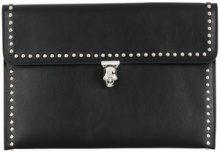 Alexander McQueen - studded Skull clutch bag - women - Leather - One Size - Nero
