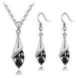 Klaritta S807 - Set di collana e orecchini pendenti, con cristalli, colore nero e argento