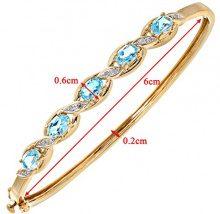 Naava Bracciale da Donna, Oro Giallo, 9 Carati, Diamante/Topazio Blu