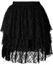 MSGM - Gonna con pannelli in pizzo - women - Polyester - 42 - Nero