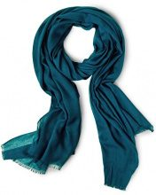Street One Uni Long Scarf with Jacquard Stripe At Edge, 80x180cm, Foulard Donna, Türkis (Pacific Blue 10991), Taglia unica