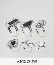 ASOS DESIGN Curve - Confezione da 6 anelli con dettaglio smaltato e pietra di luna sintetica - Argento