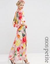 ASOS Petite WEDDING - Vestito lungo a pieghe con drappeggio sul retro e maniche a mantella