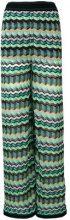 M Missoni - Pantaloni con motivo a zigzag - women - Cotone/Polyamide/Linen/Flax/Polyester - 40, 44 - Multicolore