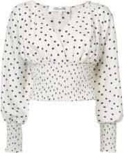 Dvf Diane Von Furstenberg - ruched polka dot blouse - women - Silk - XS, S - WHITE