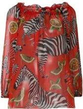 Dolce & Gabbana - Blusa con collo squadrato - women - Silk - 40 - Rosso