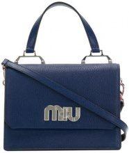 Miu Miu - Borsa tote con logo - women - Leather - OS - Blu