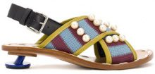 Marni - cross-over low heel sandals - women - Calf Leather/Leather/rubber/Cotone - 40, 41, 39 - Blu