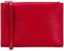 Stella McCartney - Clutch con logo - women - Polyurethane - One Size - Rosso