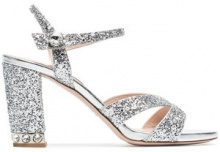 Miu Miu - silver 85 glitter sandals - women - Leather/PVC - 35, 35.5, 36, 36.5, 37, 37.5, 38, 38.5, 39.5, 40, 40.5, 41 - METALLIC