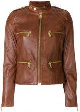 - Michael Michael Kors - Giacca 'Moto' - women - fibra sintetica/pelle di agnello - S, L, XS , XL - color marrone