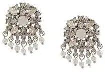 - Marchesa Notte - beaded crystal studs - women - metallo placcato in argento/cristalli - Taglia Unica - di colore grigio