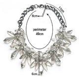TWOPAGES - Girocollo Statement con motivo floreale, con cristalli trasparenti, idea regalo per donne