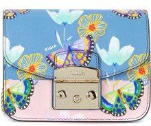 Borsa a tracolla Furla Metropolis Mini in pelle azzurra con farfalle e fiori